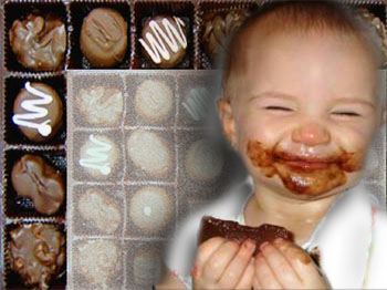 baby with chocolate smile