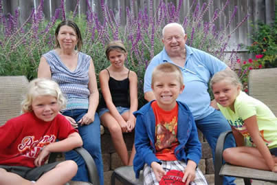 Jeanne and Larry Salvadori with their grandchildren-from left- Kaylie- 7- Mariah- 10- Brayden- 5 and Dylan- 8